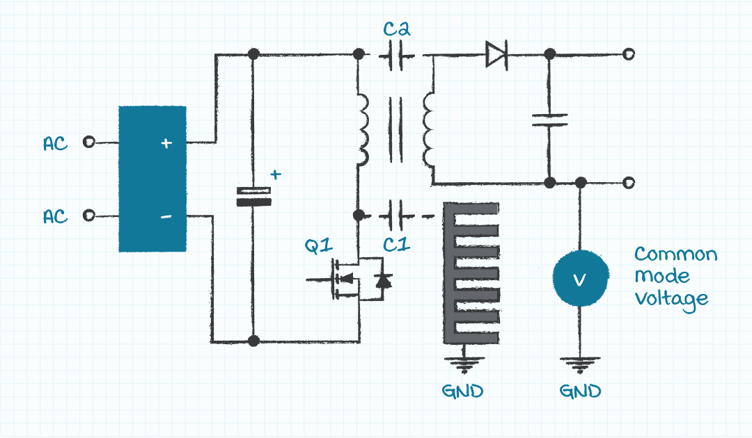 Circuit illustrating stray capacitances couple current transients causing common mode noise